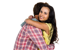 Happy couple hugging. On white screen Stock Images