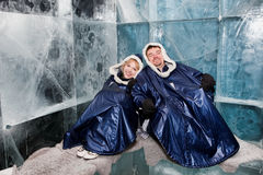 Happy couple in ice-bar Royalty Free Stock Images