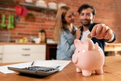 Happy couple inserting coin in piggybank. Home budget, family finance concept. Wide photo with space for your text royalty free stock photography