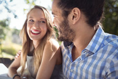 Happy couple interacting with each other. In a restaurant Royalty Free Stock Photo