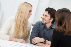 Happy couple in an interview Royalty Free Stock Photos