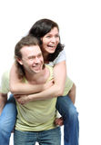 Happy couple in jeans Royalty Free Stock Photography