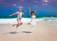 Happy couple jumping Royalty Free Stock Photography