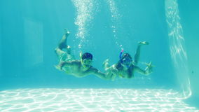 Happy couple jumping into swimming pool wearing snorkels and holding starfish. On their holidays stock video footage