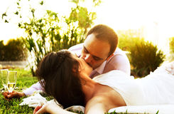 Happy couple kissing Stock Photos