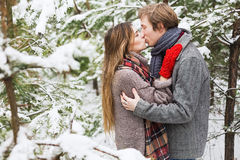 Happy couple kissing in forest among fir trees in snow. Holidays, winter, christmas, love and people concept - happy couple kissing in forest among fir trees in Stock Photo