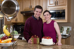 Happy Couple in the Kitchen - Horizontal Royalty Free Stock Photo