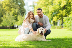 Happy couple with labrador dog walking in city Royalty Free Stock Image