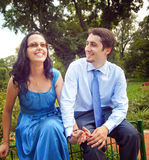 Happy couple laughing and having fun outdoor Royalty Free Stock Images