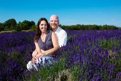 Happy Couple in Lavender Stock Photography