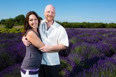 Happy Couple in Lavender royalty free stock images