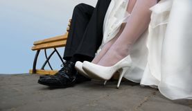 The happy couple legs Royalty Free Stock Image