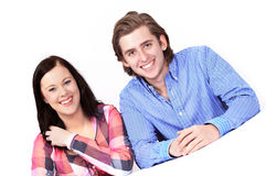 Happy couple listening Royalty Free Stock Photography