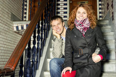 Happy couple in love,autumn Amsterdam background Royalty Free Stock Photography