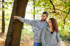 Happy couple in love  in autumn park Royalty Free Stock Photo