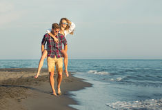 Happy couple in love on beach summer vacations. Royalty Free Stock Photography