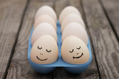 Happy couple in love. Eggs Stock Photo