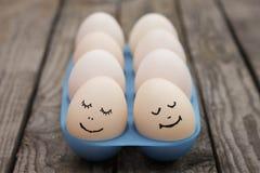 Happy couple in love. Eggs.  Stock Photo