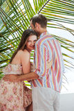 Happy couple in love embracing on a calm summer day in Mexico. Romance concept and positive human emotions Stock Photo