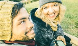 Happy couple in love enjoying time outdoor on winter time Royalty Free Stock Photography
