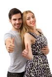 Happy couple love excited smiling holding thumb up gesture, beau Royalty Free Stock Photos