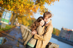 Happy couple in love on the Fontanka embankment Stock Photography