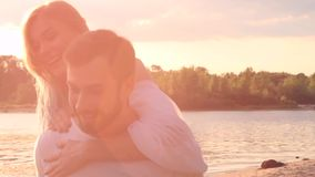 Couple in love on beach stock footage