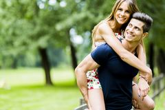 Happy couple in love having fun outdoors Stock Photography