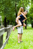 Happy couple in love having fun outdoors Stock Photo