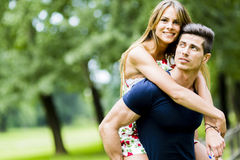 Happy couple in love having fun outdoors Royalty Free Stock Photography