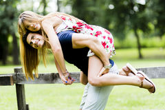 Happy couple in love having fun outdoors Royalty Free Stock Images