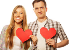 Happy couple in love holding red heart Royalty Free Stock Photo