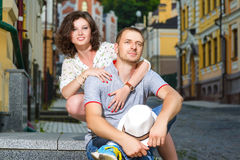 Happy couple in love hugging at city Royalty Free Stock Photo