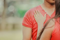Young couple love in the park royalty free stock photos