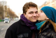 Happy couple in love, kissing Stock Photos