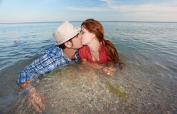 Happy couple in love kissing Royalty Free Stock Photography