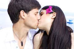 Happy couple in love kissing Royalty Free Stock Photos