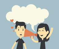 Happy couple in love with megaphone. And bubble speech Royalty Free Stock Photos