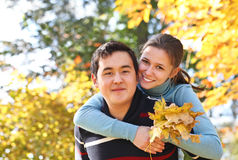 Happy couple in love outdoors Royalty Free Stock Images