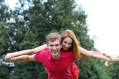 Happy couple in love at the park Royalty Free Stock Images