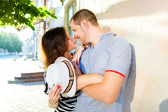 Happy couple in love posing at city Royalty Free Stock Photo