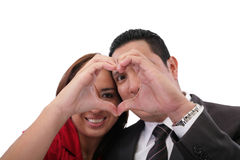 Couple in love showing heart Royalty Free Stock Photo