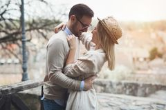 Happy couple smiling and dating outdoor Royalty Free Stock Image