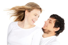 Happy couple in love smiling over white Stock Photos