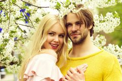 Happy couple in love in spring cherry flowers. Smiling men and girl in garden with blossom tree outdoor on natural background royalty free stock photo
