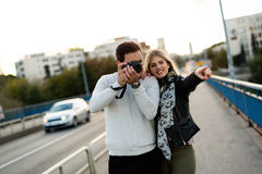 Happy couple in love traveling and bonding Stock Photography