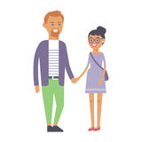 Happy couple in love vector characters togetherness romantic people together happy relationship and man with woman. Happy smiling couple in love vector Stock Photography