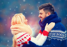 Happy couple in love in winter. Holiday season Stock Images
