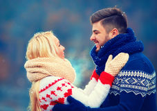 Happy couple in love in winter. Holiday season Stock Photography