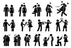 Happy Couple and Lover. Boyfriend and girlfriend love each others. Stick figures depict a couple kissing, holding hand, giving gifts, high five, consoling vector illustration